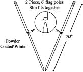 Pole ONLY, 2 piece for Pennant