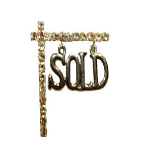 Hanging Sold Sign On Crystal Post Pin