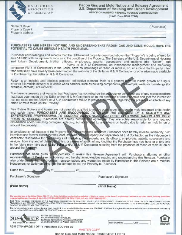 Form Rgm Radon Gas And Mold Notice And Release Agreement Single