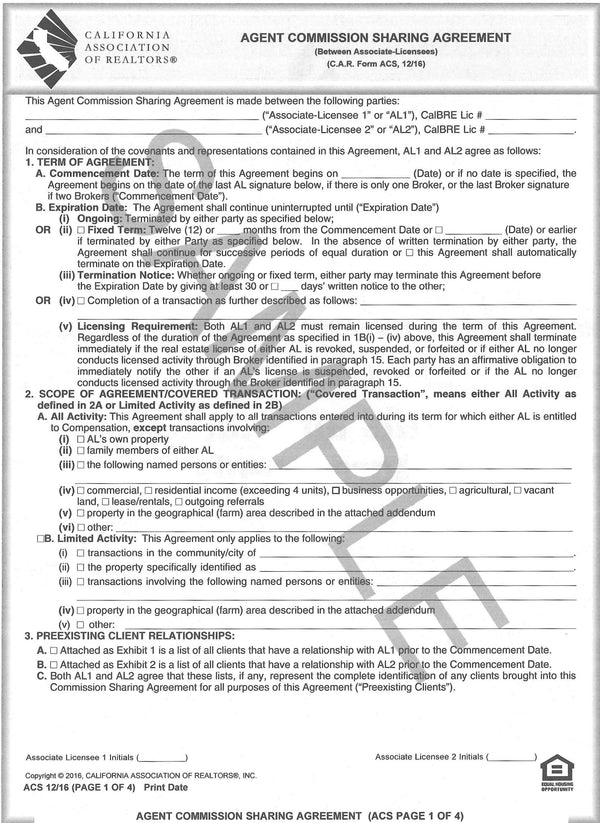 Form Acs Agent Commission Sharing Agreement Single