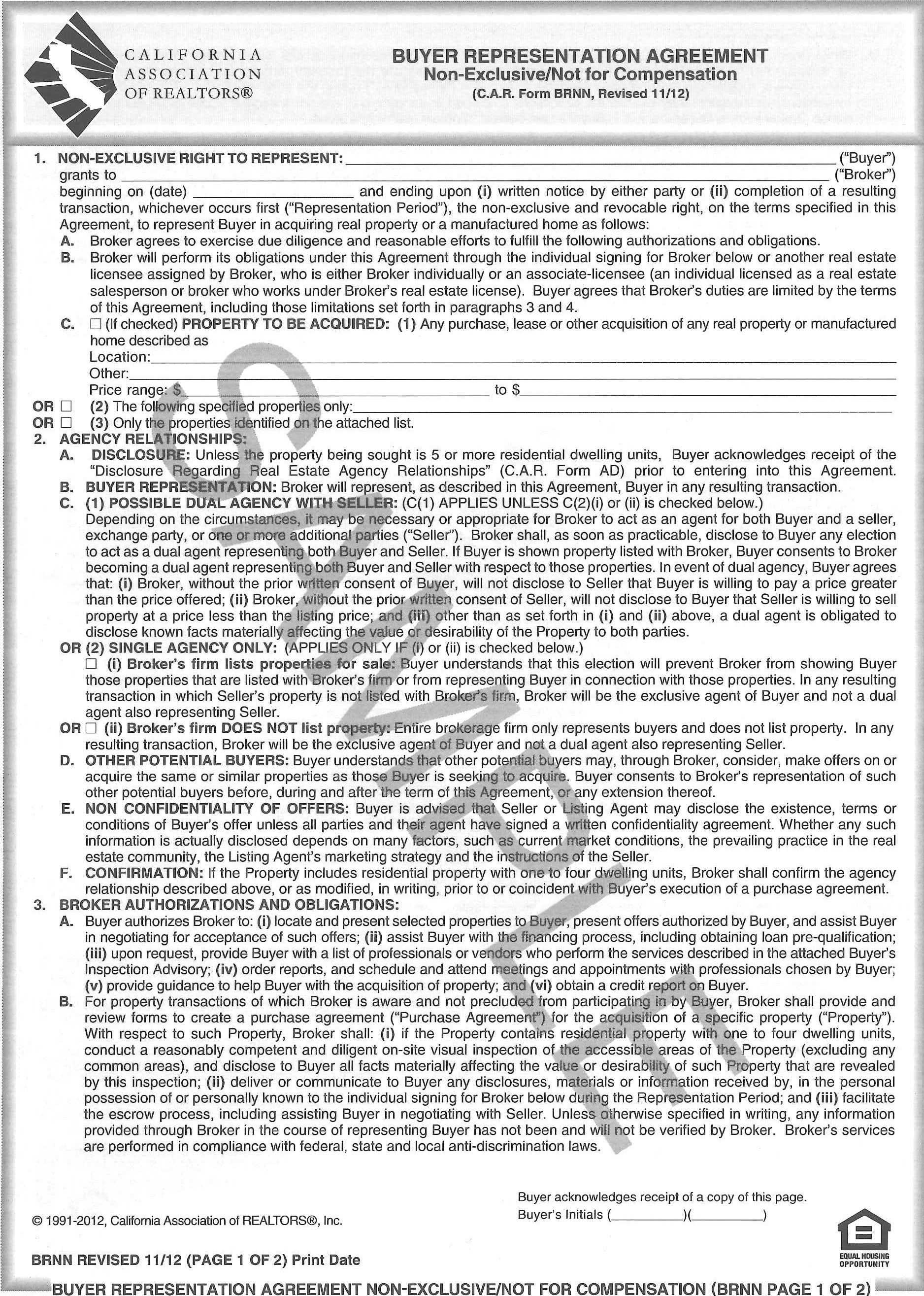 Form Brnn Buyer Representation Agreement Non Exclusive Not For Compensation Single