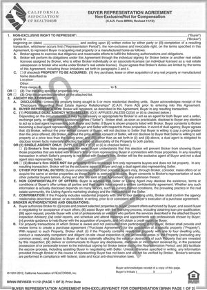 Form BRNN, Buyer Representation Agreement (Non-Exclusive/Not for Compensation), Single