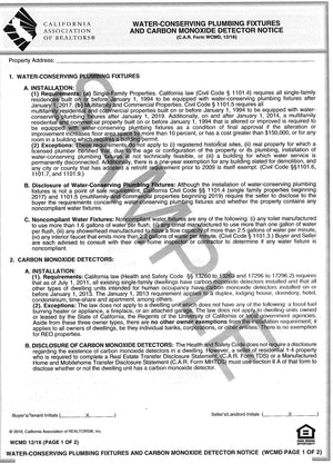 Form WCMD, Water Conserving Plumbing Fixtures & Carbon Monoxide Detector Notice, Single