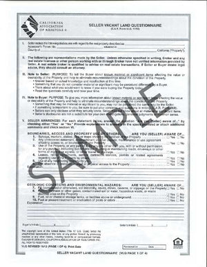 Form VLQ, Seller Vacant Land Questionnaire
