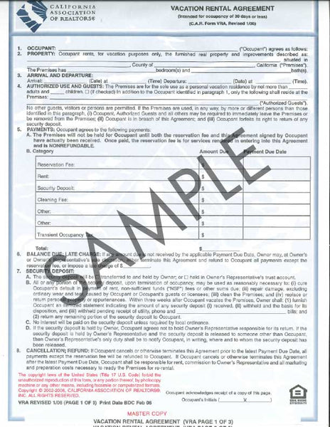 Form VRA, Vacation Rental Agreement
