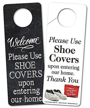 Door Hanger, PLEASE USE SHOE COVERS UPON ENTERING OUR HOME