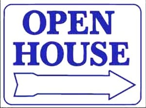"Rectangular PVC Sign, 18"" x 24"", OPEN HOUSE with Arrow / HOME FOR SALE with Arrow"