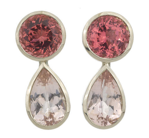 Vintage Pink Tourmaline & Morganite Earrings