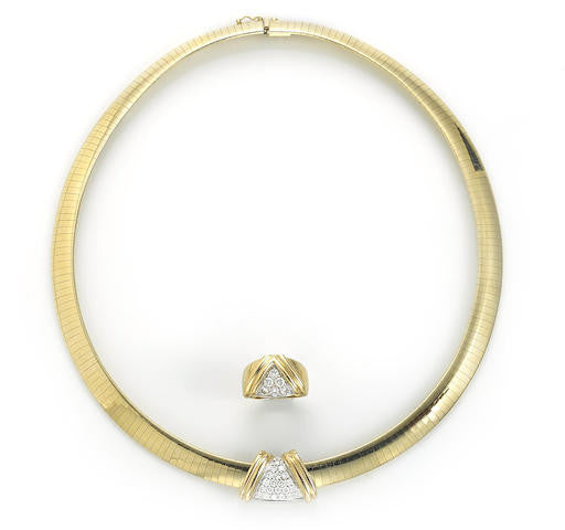 Slide pendant with omega chain and matching gold ring brigitte stone slide pendant with omega chain and matching gold ring aloadofball Images