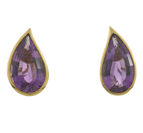 Designer Amethyst Teardrop Earrings