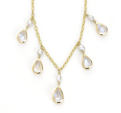 Moonstone Pearl Fringe Necklace