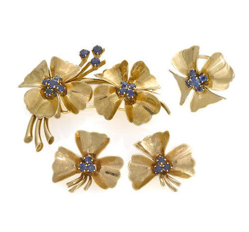 Sapphire Flower Earrings/Brooch & Ring Set
