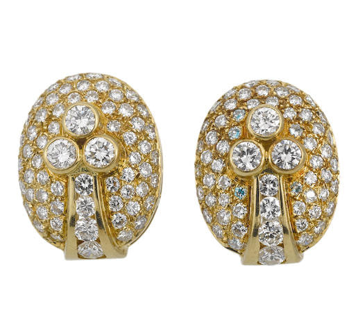 Vintage Diamond Button Earclips