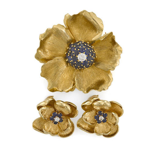 Flower Brooch With Matching Earrings