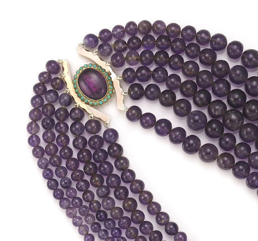 Amethyst Bead And Pectolite Multistrand Necklace
