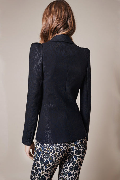 Box Pleat Brocade Blazer