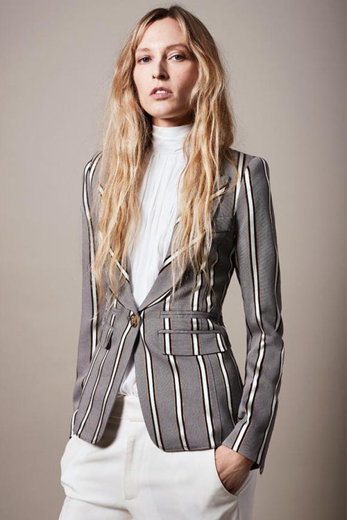 Peaked Lapel Blazer-Grey Ribbon Stripe