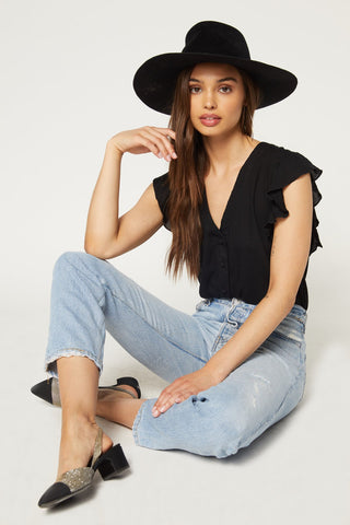 That's A Wrap Crop Top Flutter-Black