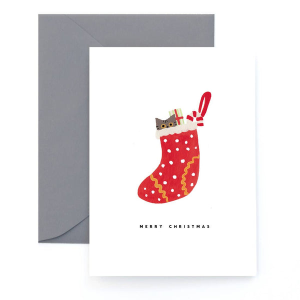 Stocking Time Cat Card