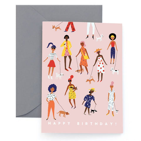 Pooch Walking Birthday Card