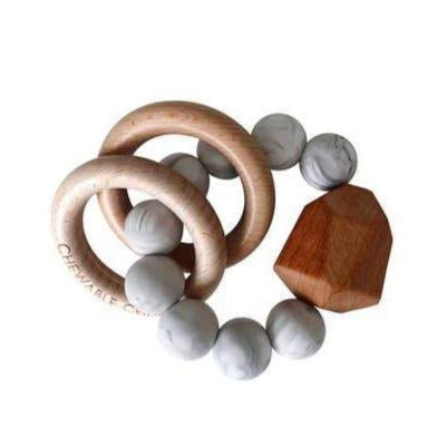 Hayes Silicone + Wood Teething Ring - Howlite