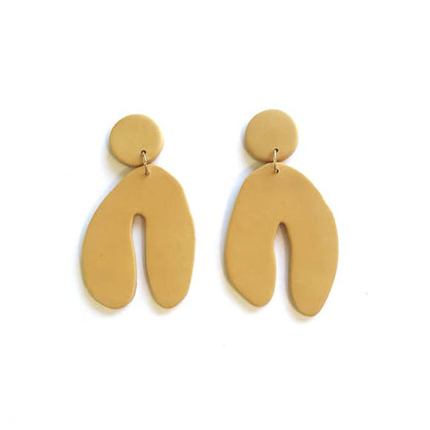 Large Wishbone Earrings - Mustard Yellow