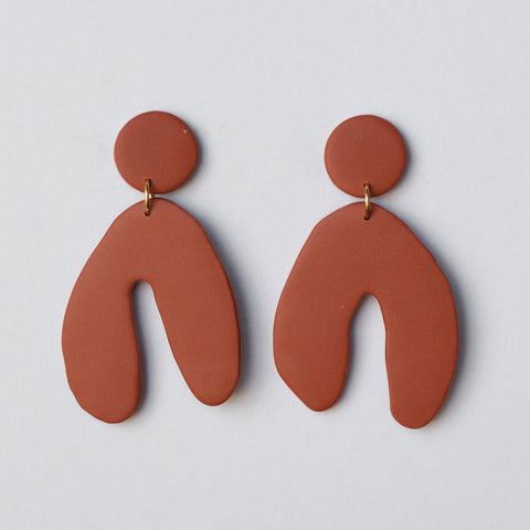 Wishbone Earrings - Rust