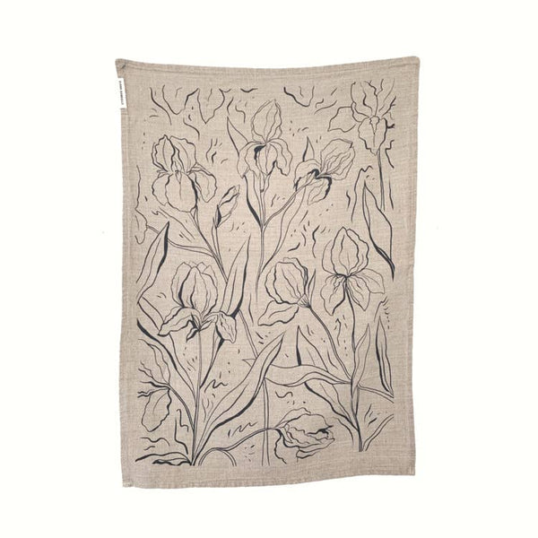 Iris Linen Tea Towel - Flax