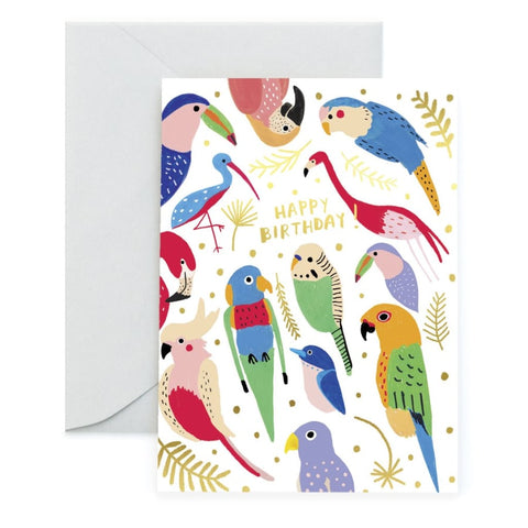 Happy Birthday Tropical Birds Card