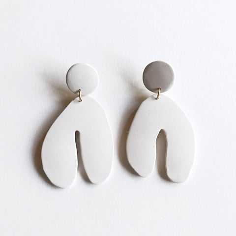 Wishbone Earrings - Cream