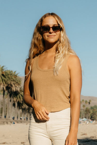 Hemp Rib Tank - Tan Earth