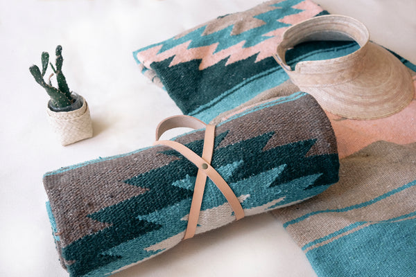 Tierra Blanket - Tan + Teal