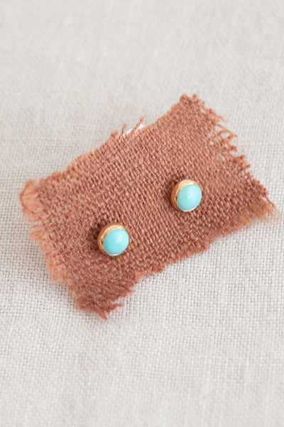 Stone Dot Studs Earrings - Turquoise