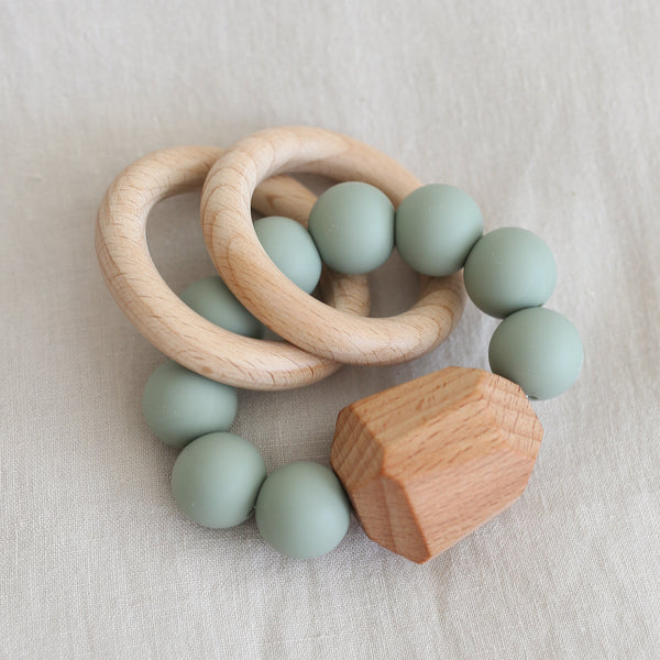 Hayes Silicone + Wood Teething Ring - Succulent