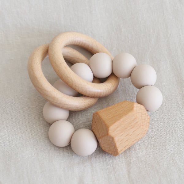 Hayes Silicone + Wood Teething Ring - Oat