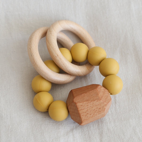 Hayes Silicone + Wood Teething Ring - Mustard