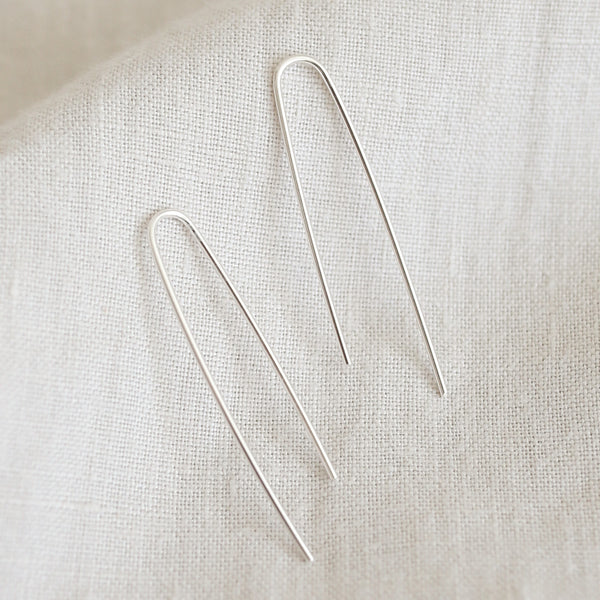 Uneven U Earrings - Silver