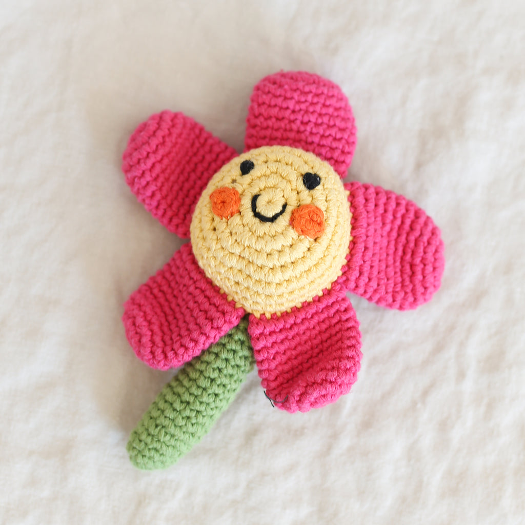 Pebble Friendly Pink Flower Rattle