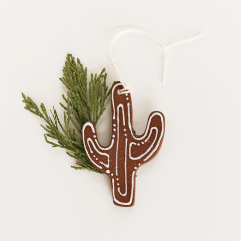 Ceramic Cactus Ornament - Brown Lines + Dots