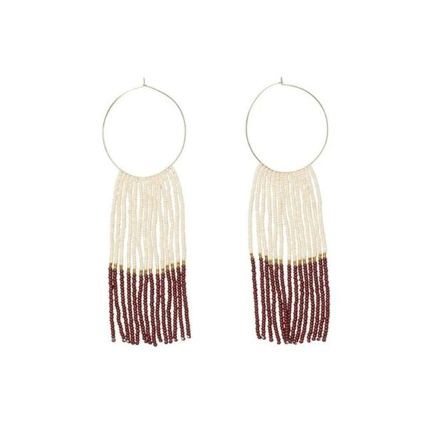 Pembetatu Large Hoop Earrings - Burgundy