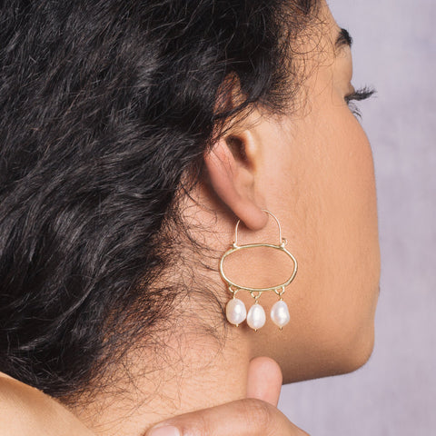 Pearl Penelope Hoop Earrings