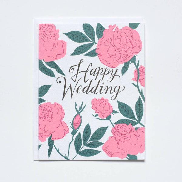 Pastel Roses Wedding Card