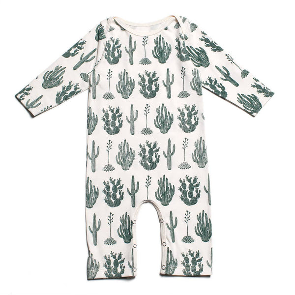 Long Sleeve Romper - Cactus Green