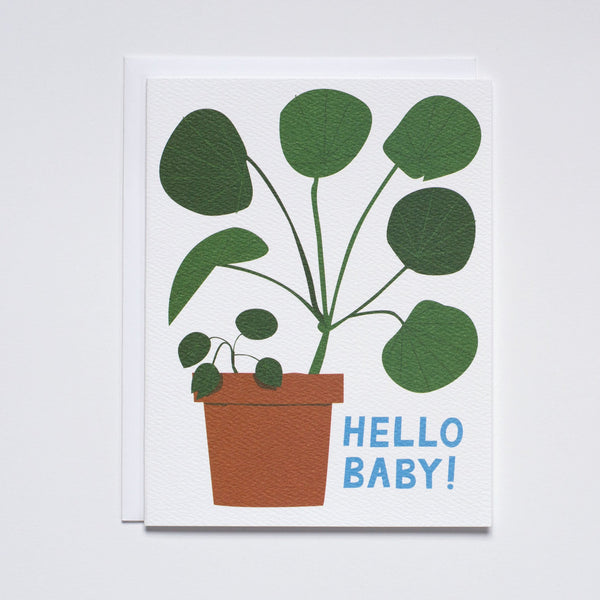 Hello Baby Pilea Card