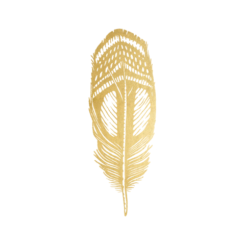 Tattly Gold Quail Feather Tattoo