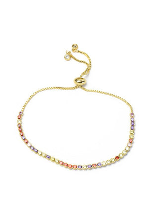 Gold Multi Color Cubic Zirconia Pull Tie Bracelet