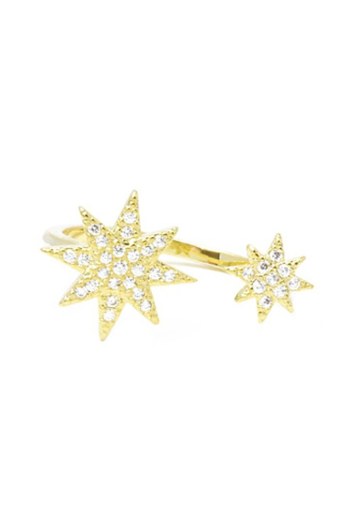 Gold Cubic Zirconia Starburst Adjustable Ring