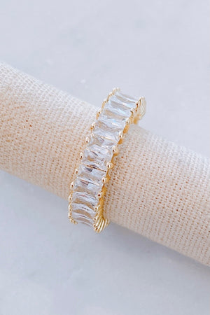 Gold Cubic Zirconia Adjustable Band Ring