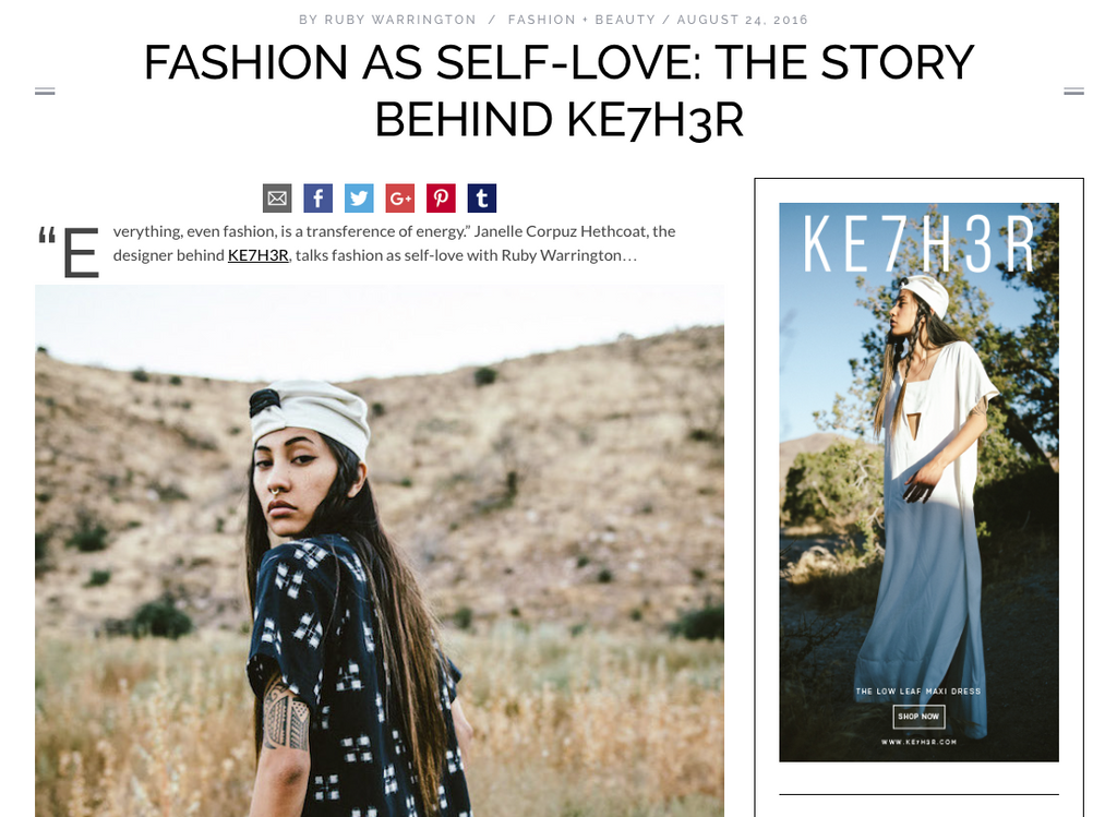 FASHION AS SELF-LOVE: THE STORY BEHIND KE7H3R by Ruby Warrington of THENUMINOUS.COM
