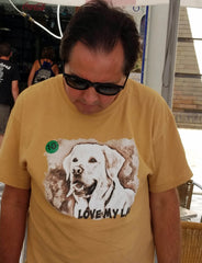 Man Wearing Love My Lab T-shirt